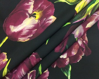 Silk Italian fabric tulips print made in Italy designer fashion yards dress floral printed fabric haute couture