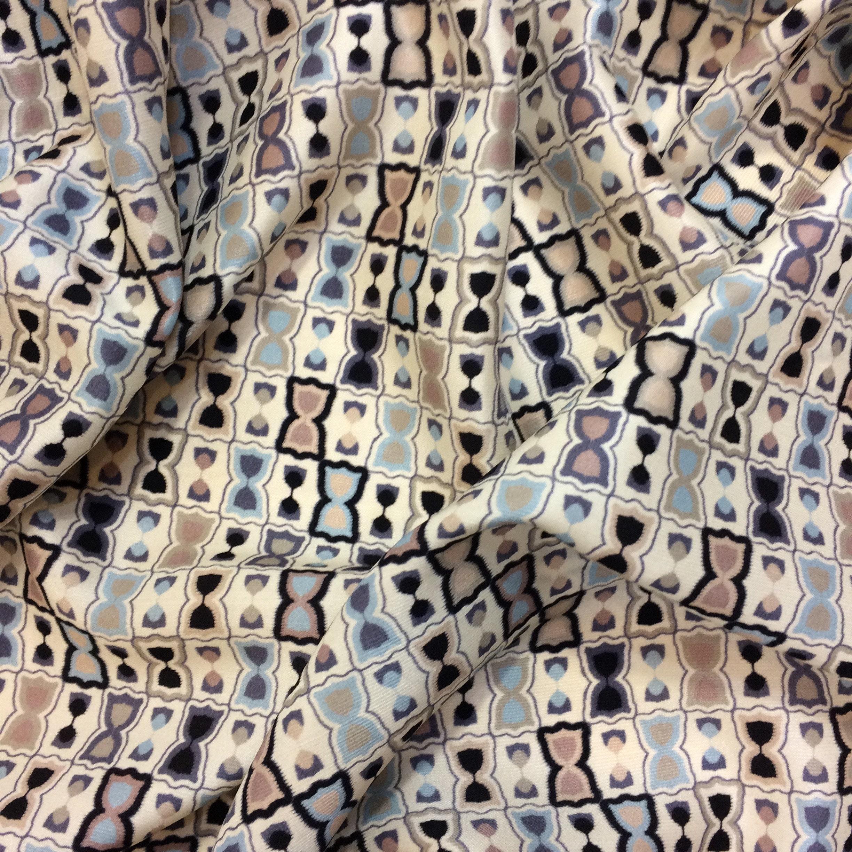 Twill de soie tissu italien, robe de tissu haute imprimé, sablier imprimé,  tissu 90edcdc3234