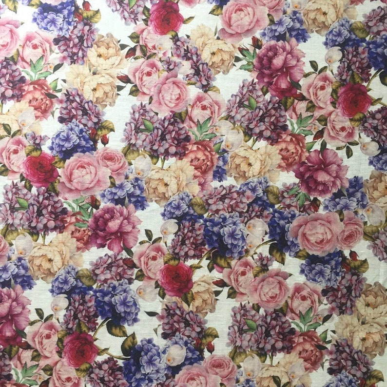 designer fashion dress blouse floral printed fabric made in Italy roses print linen by 1.82 yards Italian fabric haute couture fabric
