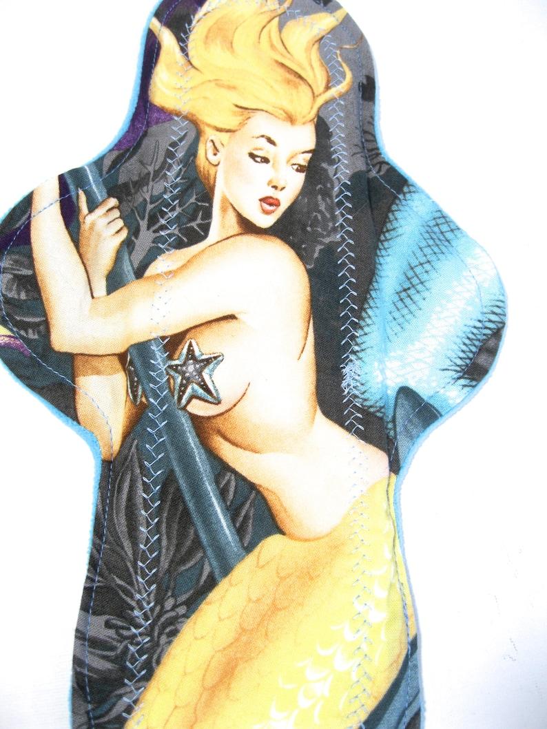 12 Yellow Tail Mermaid Cloth Pad heavy bamboo fleece heavy absorbency reusable cloth pad