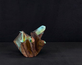 handmade table top sculptural copper vessel bowl with green patina