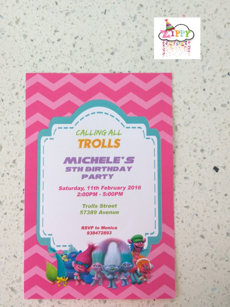picture about Trolls Birthday Invitations Printable titled Trolls Birthday Invitation Card, Trolls Invitation, Printable Electronic Document