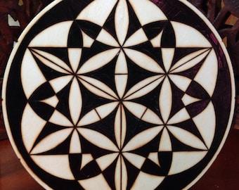 "6.5"" Sacred Geometry Art - Pyrography Art, Spiritual Wall Art, Wood Mandala, Sacred Geometry Art, Bohemian Wall Art, Mandala Wall Art"