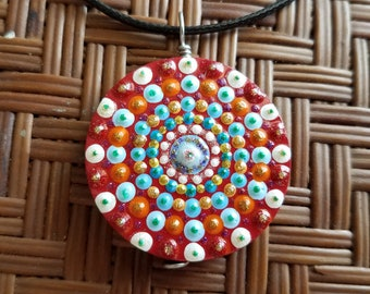 17-31 Dot Painted Stone Necklace Adjustable Porcupine Necklace Sparkly Dot Painted Jewelry Handmade Necklace
