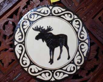 "6.5"" Moose Pyrography Art - Wood Art, Moose Wall Art, Animal Art, Spiritual Wall Art"