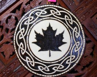 "6.5"" Maple Leaf Pyrography Art - Wood Art, Maple Leaf Wall Art, New England Art, Spiritual Wall Art"
