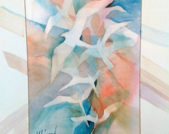 Flight Pattern - Spirit Inspired Watercolor Print with Unique Hand Painted Mat