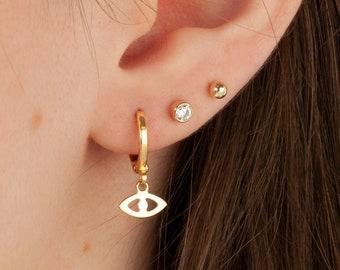 Evil Eye Earrings, Huggie Earrings, Hoop Earring Set, Tiny Gold Hoops with Lucky Charm