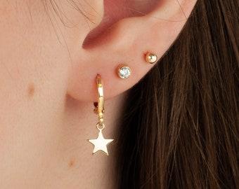 Dainty Star Hoop Earrings, Dangle Hoop Earring, Tiny Gold Hoops