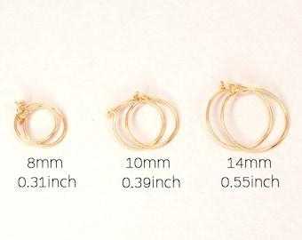Thin Gold Hoops, Yellow Gold Plated, Simple Hoop Earrings, Tiny Gold Hoops, Second Hole Earrings, Hoop Earring Set, Sleepers 8, 10, 14mm