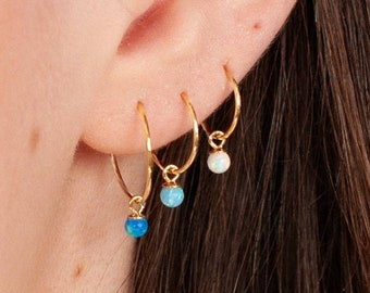 Opal Hoop Earrings, Small Gold Hoops, Tiny Gold Hoops, Second Hole Earrings, Gold Sleeper Hoops