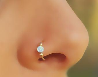 Fake Nose Ring Opal Nose Gold Filled Ring Fake Piercing Etsy