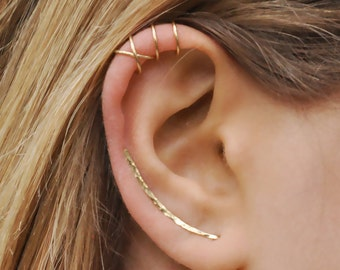 7f71b3d81ad Modern Minimalist Set of 3 - Ear Climber, Ear Cuff, Double Ear Cuff,  Earring Climbers 30mm, Criss Cross Cuff, Climber Earrings, Gold Crawler