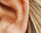 Three Line Ear Cuff, Gold Filled , No Piercing, Fake Conch Earring, Ear Cuff, Cartilage Cuff, Fake Piercing, Minimalist Ear Cuff, earcuff