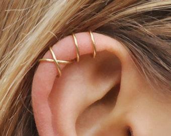 Set Of 2 Ear Cuffs Cuff No PiercingEarcuff Double Line And Or Criss Cross CuffCartilageSimple CuffFake Cartilage Earring