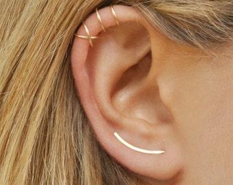 Modern Minimalist Set of 3 - Ear Climber, Smooth Ear Sweeps, Double Ear Cuff, Earring Climbers 20mm, Criss Cross Ear Cuff, Gold Crawlers