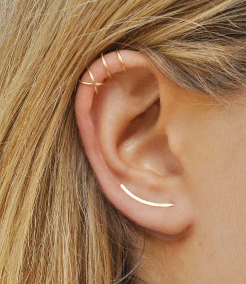 0288680d0 Gold Line Earrings Set Of 3 Earrings in Gold 14K Simple Gold | Etsy