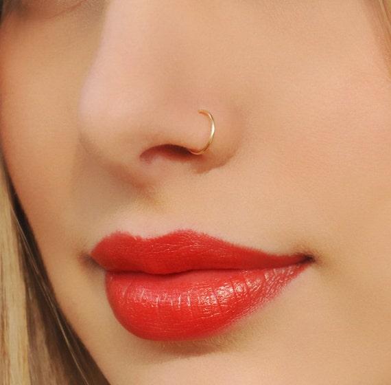 Fake Nose Ring Tiny Gold Filled Fake Nose Ring No Piercing Etsy
