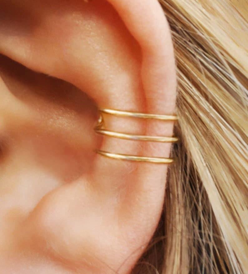 Cartilage Cuff No Piercing Fake Conch Earring earcuff Three Line Ear Cuff Minimalist Ear Cuff Fake Piercing Gold Filled Ear Cuff