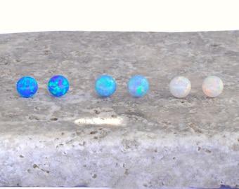 Sterling Silver Opal Earrings, Opal Earrings Studs, White Opal Studs Earrings, Tiny Opal Studs 3,4,5mm