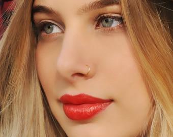 NOSE RING, Nose Hoop, 24 22 20 Gauge, 14K Nose Ring, Dainty Nose Ring, Nose Hoop, Gold Nose Ring, Tiny Nose Ring, Septum, Cartilage, Helix