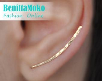Ear Climbers Earrings x2, Ear Climber, Gold Ear Pins, Climber Earrings 30mm, Ear Crawlers, Earrings Pin, Gold Earrings, Earring Pins