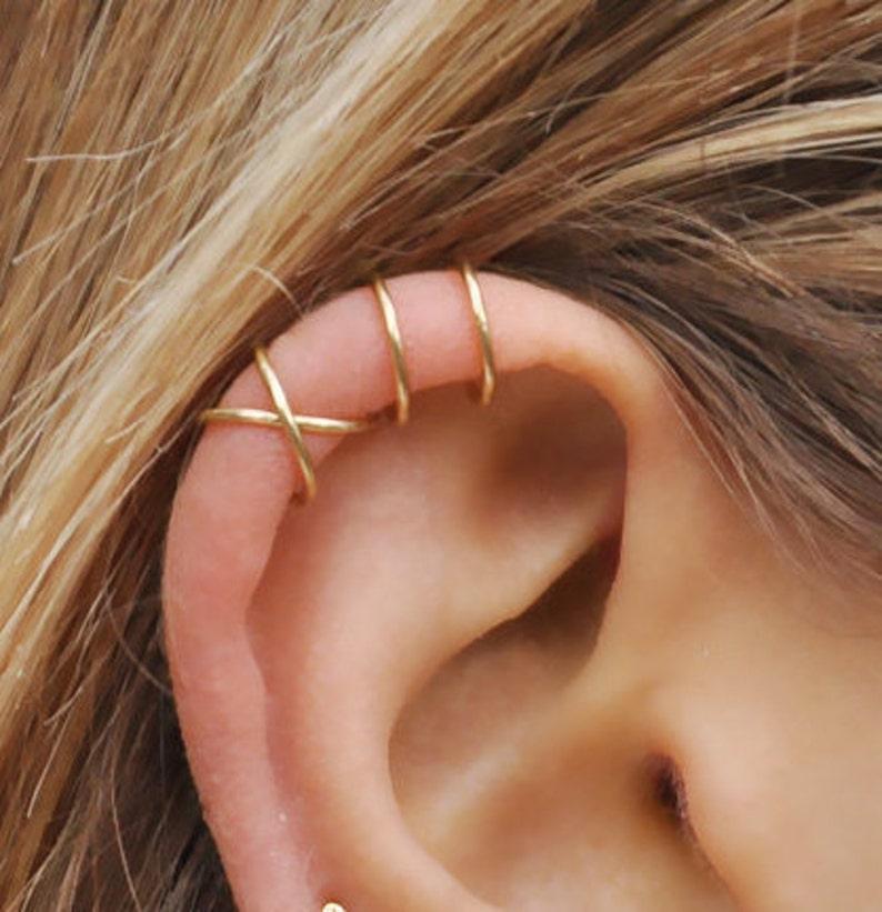 Set of 2 Ear Cuffs Ear Cuff No PiercingEarcuff Double Line image 0