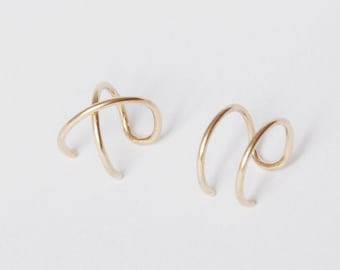 Modern Minimalist Set of 2 Ear Cuffs or Single Ear Cuff, Double & Criss Cross,No Piercing,Cartilage Ear Cuff,Gold Ear Cuff, Silver Ear Cuff