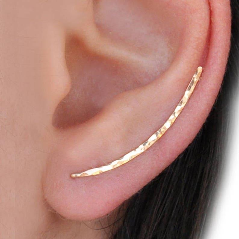 Ear Climber Earrings  Long Ear Climber  Silver Ear Climber  image 0