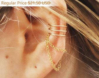 Sale - Ear Cuff, Triple Ear Cuff and Chain, Gold Filled Ear Cuff, 3 Ring Ear Cuff,Helix Ear Cuff,Triple Ear Cuff,Ear Cuff, Ear Cuffs, Earcuf