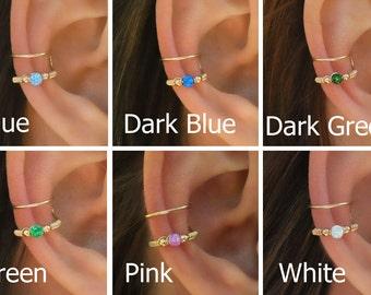 DOUBLE WRAP CUFF, Opal Ear Cuff, Ear Cuff, Fake Piercing, No Piercing, Double Cuff, Cartilage Cuff, Cuff