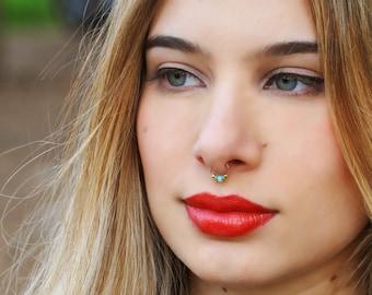 FAKE SEPTUM ring - septum - fake piercing - fake ring nose - Gold filled - turquoise