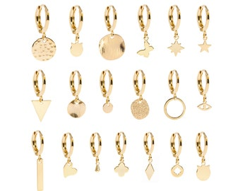 Hoop Earrings, Little Gold Hoops with Charm, Huggie Hoops, Mini Gold Hoops, Second Hole Earrings