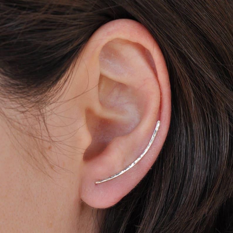 e3adedb0f Curved Bar Pin Earrings Sterling Silver Ear Cuff Bar Ear | Etsy