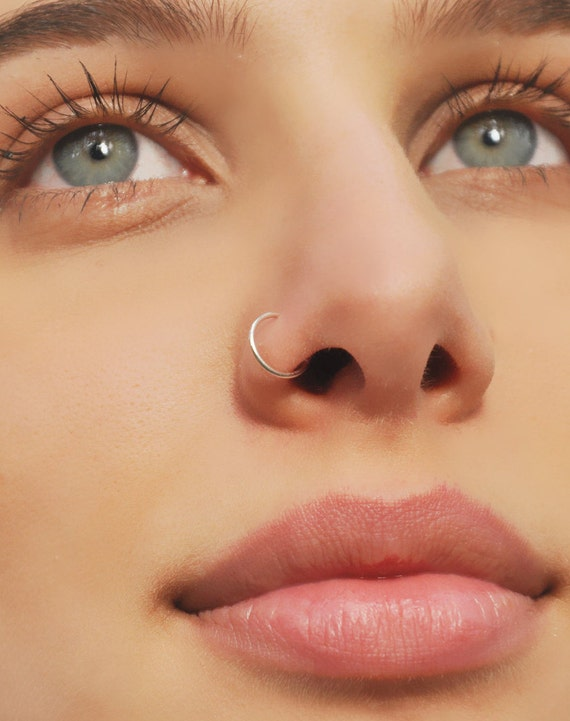 Nose Ring Sterling Silver Nose Ring Cartilage Hoop Earring 24 Etsy