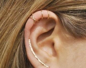 NEW YEAR SALE Set of 3 - Ear Climber, Ear Cuff, Double Ear Cuff, Earring Climbers 30mm, Criss Cross Ear Cuff, Climber Earrings, Ear Crawlers