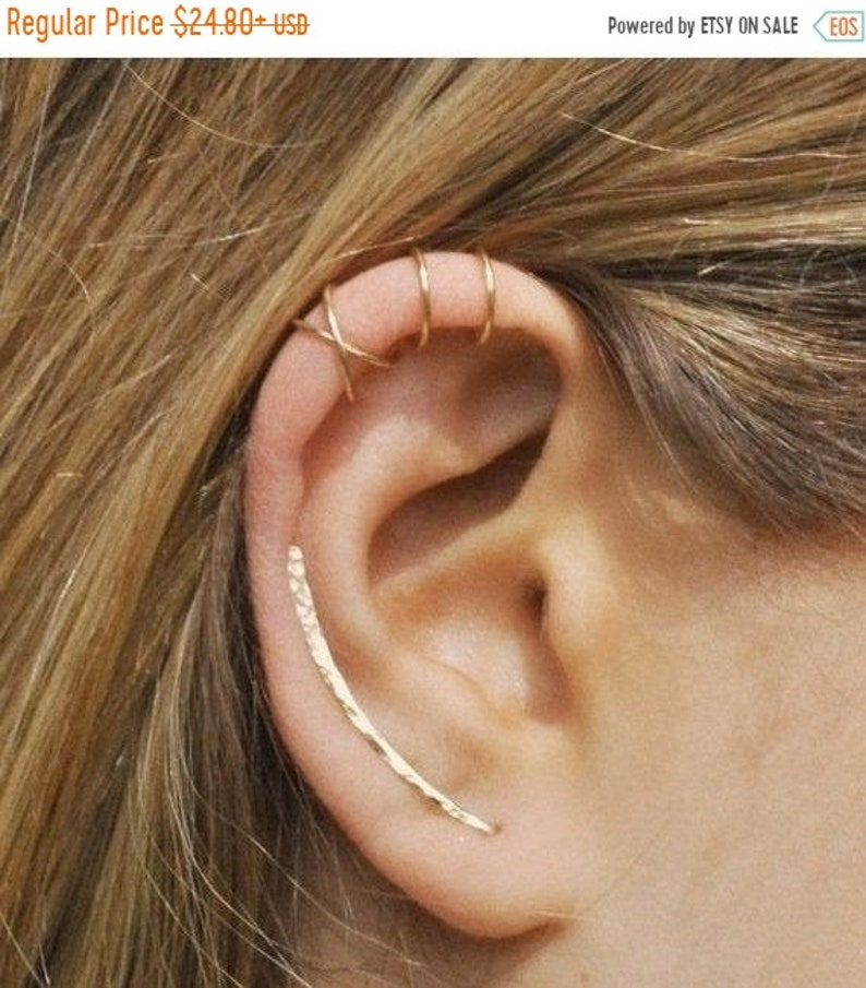 NEW YEAR SALE Set of 3  Ear Climber Ear Cuff Double Ear image 0