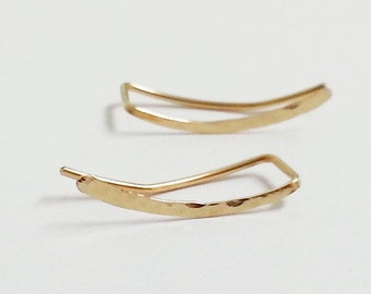 gold ear climber with hammered texture, handcrafted ear crawler earrings, minimalist jewelry