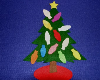 light up christmas tree children story flannel board felt set