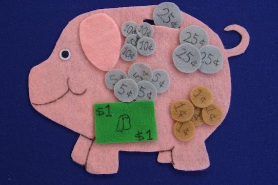 Learning Money Children Story Flannel board Felt set