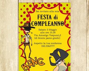 Invito Compleanno Cowboy, Invito Festa Compleanno Cowboy, Invito Compleanno Stampato Invito Compleanno Digitale Invito Compleanno Stampabile