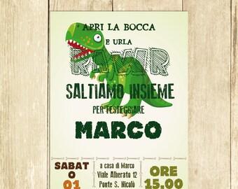 Invito Compleanno Dinosauro Verde Invito Festa Compleanno Invito Compleanno Stampato Invito Compleanno Digitale Invito Compleanno Stampabile