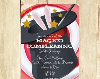 Invito Compleanno Magia Invito Festa Compleanno Invito Compleanno Stampato Invito Compleanno Digitale Invito Compleanno Stampabile Mago I004