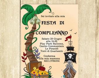 Invito Compleanno Pirati Invito Festa Compleanno Invito Compleanno Stampato Invito Compleanno Digitale Invito Compleanno Stampabile I005