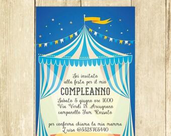 Invito Compleanno Circo Blue, Invito Festa Compleanno, Invito Compleanno Stampato, Invito Compleanno Digitale, Invito Compleanno Stampabile