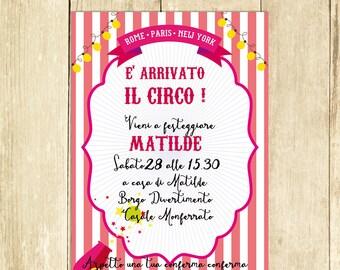 Invito Compleanno Circo Rosa, Invito Festa Compleanno, Invito Compleanno Stampato, Invito Compleanno Digitale, Invito Compleanno Stampabile