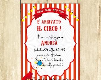 Invito Compleanno Circo Rosso, Invito Festa Compleanno, Invito Compleanno Stampato, Invito Compleanno Digitale, Compleanno Stampabile I006R