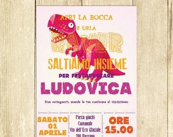 Invito Compleanno Dinosauro Rosa Invito Festa Compleanno, Invito Compleanno Stampato Invito Compleanno Digitale Invito Compleanno Stampabile