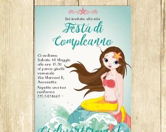 Invito Compleanno Sirenetta, Invito Festa Compleanno, Invito Compleanno Stampato Invito Compleanno Digitale Invito Compleanno Stampabile