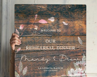 Rustic Rehearsal Dinner Welcome Sign Rehearsal Welcome Sign Rustic White Flowers Welcome Sign Wedding Shower Sign Rustically Inspired Sign